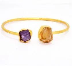Indian Handcraft Fashion Party Wear Rough Stone Bangle Bracelet