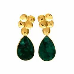 Dyed Emerald Gold Plated Earring