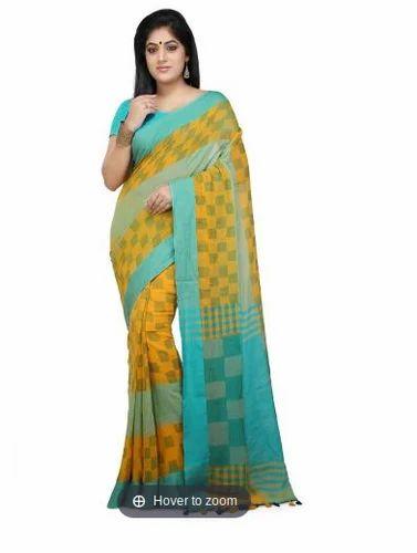 0cdbb792c8 Handloom Soft Cotton Saree In Yellow And Aqua Blue - Wooden Tant ...