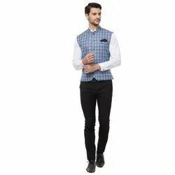 Blue Cotton Blend Readymade Modi Jacket