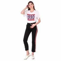 Button Ladies Black Red Stripe Denim Jeans, Waist Size: 26-32