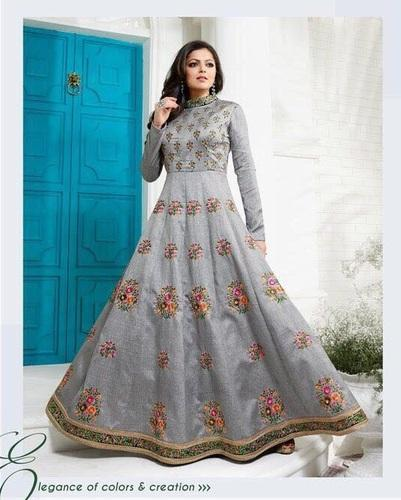 Gray Color Embroidered Banglori Silk Suit