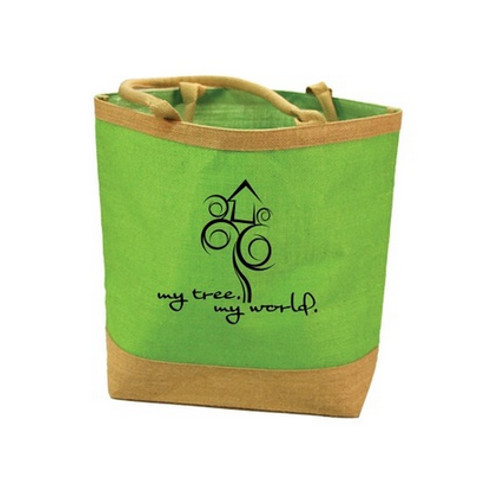 602f5e7a7e Jute Lemon Green And Brown Smart Design Shopping Bags