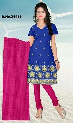 Chanderi Embroidery Salwar Kameez Suit Unstitched Pakistani Indian Wear Dress JM