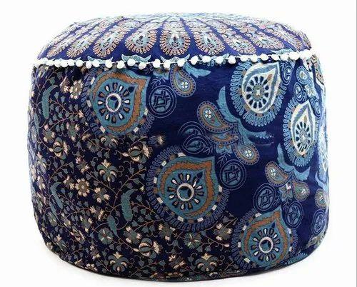 Surprising Blue Ottoman Decor Footstool Floor Pillow Indian Printed Round Mandala Pouf Machost Co Dining Chair Design Ideas Machostcouk