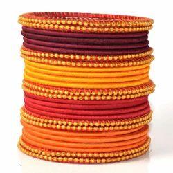 Indian Handcraft Indian Look Fancy Silk Thread Bangles Set