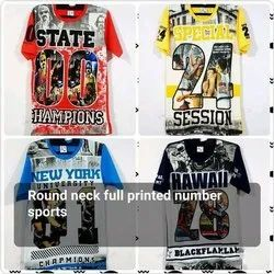 Round Neck Full Printed Number Sports T Shirt