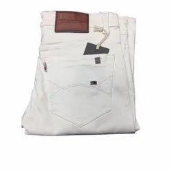 Plain Regular Fit Mens White Cotton Jeans