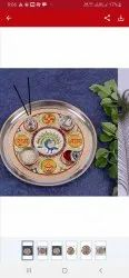 Red Stainless Steel Pooja thali, For Puja