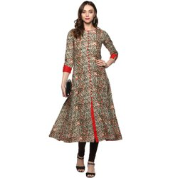 Yash Gallery Kalmkari Print Womens Cotton Anarkali Kurta