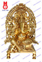 Ganesh Sitting On Throne W/Prabhawal Statue