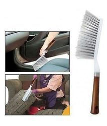 Soft White+Brown Carpet Brush With Wooden Look, for Carpet Cleaning