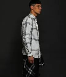 Mens White Checks Shirt
