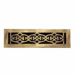 Flower Brass Wall Register with Louver - 2-1/4inch x 10inch (3-1/2inch x 11-3/8inch Overall)