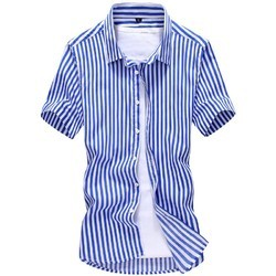 Blue And White Striped Men's Cotton Shirt
