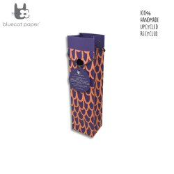 Charming handmade purple paper wine bag - orange big 'U'