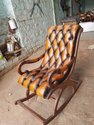 Wooden with leather rocking chair
