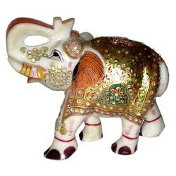Marble Elephant With Gold Work