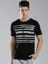 Black Cotton Mens Casual Printed T Shirt