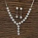 White Cz Rhodium Plated Classic Necklace 406371, Size: Reguler Size And Adjustable