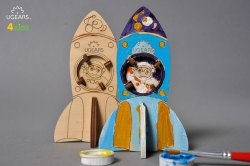Rocket 3D Wooden Coloring and Painting DIY Model