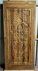 Exterior Teak Wood Carved Door, Size: 81x36 Inch