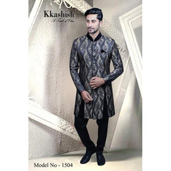 Party Wear Traditional Pattern Navy Blue Indo Sherwani