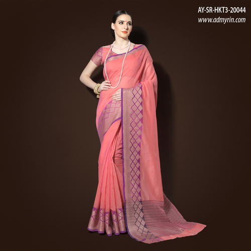 362cd62d52 Hastkala Volume 3 - Salmon Pink Chanderi Cotton Woven Saree ...