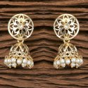 White Classic Jhumki Indo Western Jhumkis With Gold Plating 101229