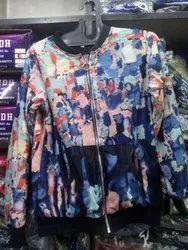 Printed Zipper Ladies zip jacket, Full Sleeves