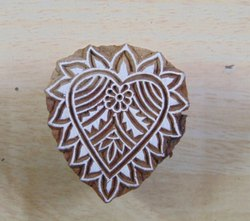 Floral Heart Pattern Wooden Printing Blocks