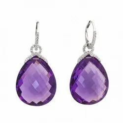 Sterling High Quality Amethyest Gemstone Silver Earring, 925 Silver Jewelry