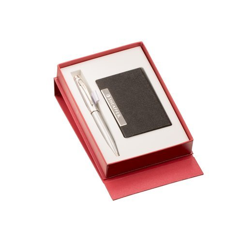 9306 Silver Ball Pen And Business Card Holder Gift Set At Rs 1425