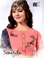 Senorita Vol-1 Traditional Designer Rayon With Embroidery Work Kurti With Palazzo And Dupatta