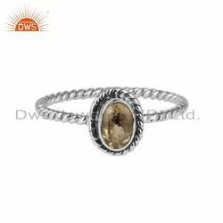 Oxidized Silver Twisted Design Citrine Gemstone Rings