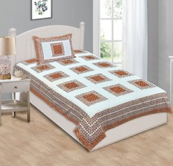 Square Printed Cotton Single Bed Sheet
