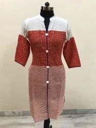 Red Cotton Achkan Kurti