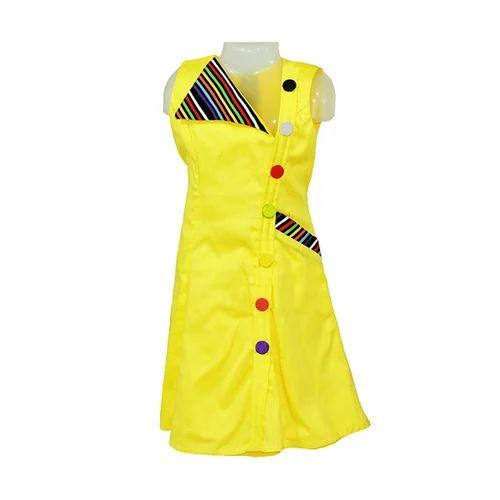 ad9415e4e02a Glazed Cotton Kids Yellow Frocks