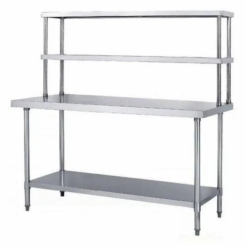 Grey SS Work Table with Overhead Shelf