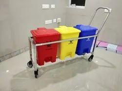 SS Hospital Dustbin Trolley