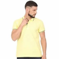 Mens Cotton Solid Collar Neck T Shirt