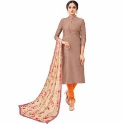 Rajnandini Light Brown Chanderi Silk Embroidered Semi-Stitched Dress Material With Printed Dupatta