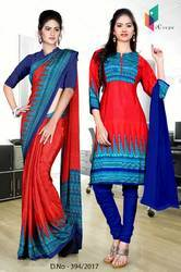 Blue and Red Italian Crepe Uniform Saree Kurti Combo