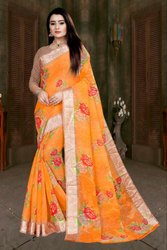 linen sarees with flower print