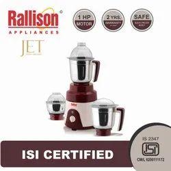 Rallison Plastic Jet 1HP Mixer Grinder, 751 W - 1000 W, 3