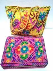 Gujarati Embroidery Work Multi-Color Tote Bag 176, Dimension: 17