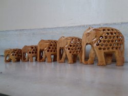 Wooden Down Trunk Jaali(Undercut) Elephant