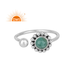 Natural Emerald Stone Oxidized Plated Sterling Silver Designer Rings