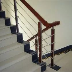 Jindal Wooden Baluster Stainless Steel Wood Railing, Material Grade: 304, For Home