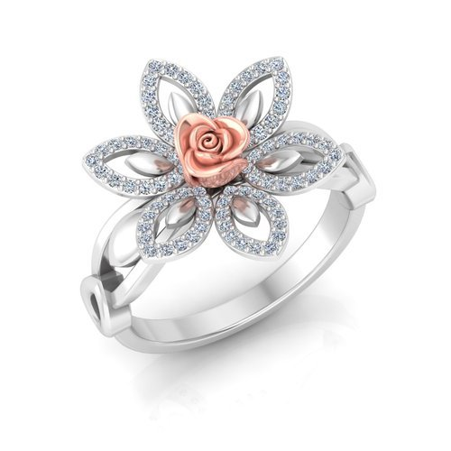White Gold Ring White Gold Rose Pattern Ring Manufacturer from Surat
